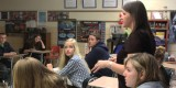 Freshman World History teacher Jennifer Richardson teaches her class about the American policy of containment during the Cold War with the Soviet Union. (Photo Credit: Lindsay Breslin)