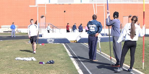 Fairmont Track and Field team members practice pole vaulting and various other sprints during practice on Wednesday, April 3, 2013. (Photo Credit: Lindsay Breslin)
