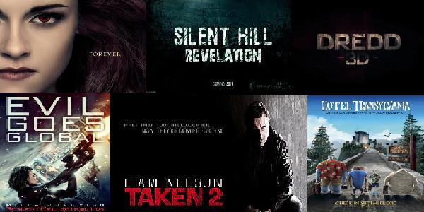 Movies coming out this fall include: Breaking Dawn Pt. 2, Silent Hill: Revelation, Dredd 3D, Resident Evil: Retribution, Taken 2, and Hotel Transylvania (Photo Credits: Lionsgate, Open Road Films, Screen Gems, 20th Century Fox, Columbia Pictures)