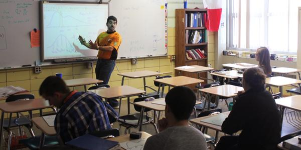 Bill Petrello teaches his AP Statistics class during sixth period.