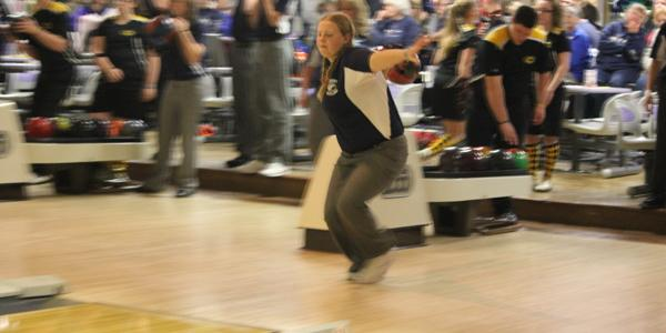 Senior Dottie Deis warms up for her bowling match against Centerville on Tuesday, January 22nd 2013
