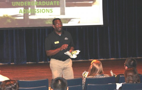 A Wright State University official tells Fairmont's seniors about college requirements and opportunities during Fairmont's College Readiness Day on Aug. 28, 2013.