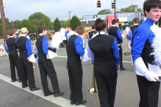 Marching Firebirds in line up.