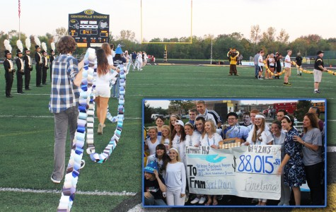 The Spirit Chain totals were revealed before the Fairmont-Centerville football game on Oct. 4, 2013. In the inset, Fairmont students and staff celebrate another victory over the Elks.
