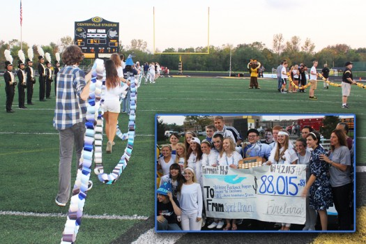 The+Spirit+Chain+totals+were+revealed+before+the+Fairmont-Centerville+football+game+on+Oct.+4%2C+2013.+In+the+inset%2C+Fairmont+students+and+staff+celebrate+another+victory+over+the+Elks.+