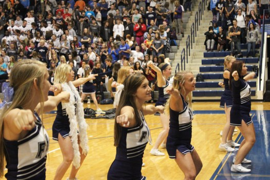 Fairmont's JV football cheerleaders pump up the Fairmont student body at the Spirit Chain Pep Rally on Friday, Oct. 4th.