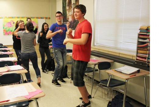 Senora Haney's 5th period Spanish 2 students learn some dance moves to Spanish pop songs.