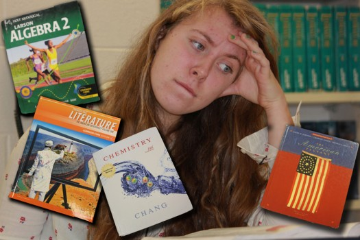 Sophomore+Gillian+Garland+finds+that+academic+demands+can+sometimes+maker+her+head+spin.+She+says+Honors+Algebra+II+and+AP+U.S.+History+are+her+most+challenging+classes+this+year.+