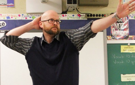 Josh Oliver, an English teacher at Fairmont, busts his signature move: the Lawn Sprinkler.