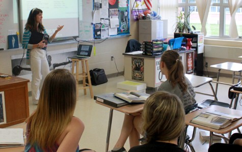 Elaine Zamonski  teaches a Roman myth to her Latin I class. Many of the students in this class took the Latin 1 National Latin Exam this year to test their knowledge and gain recognition for their work throughout the school year.