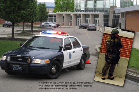 On Thursday, May 15, 2014, Kettering Police and members of the Dayton Bomb Squad responded to a bomb threat at Kettering Fairmont High School. Students and teachers evacuated the school, which was dismissed at 11:30 a.m., as the threat was investigated.