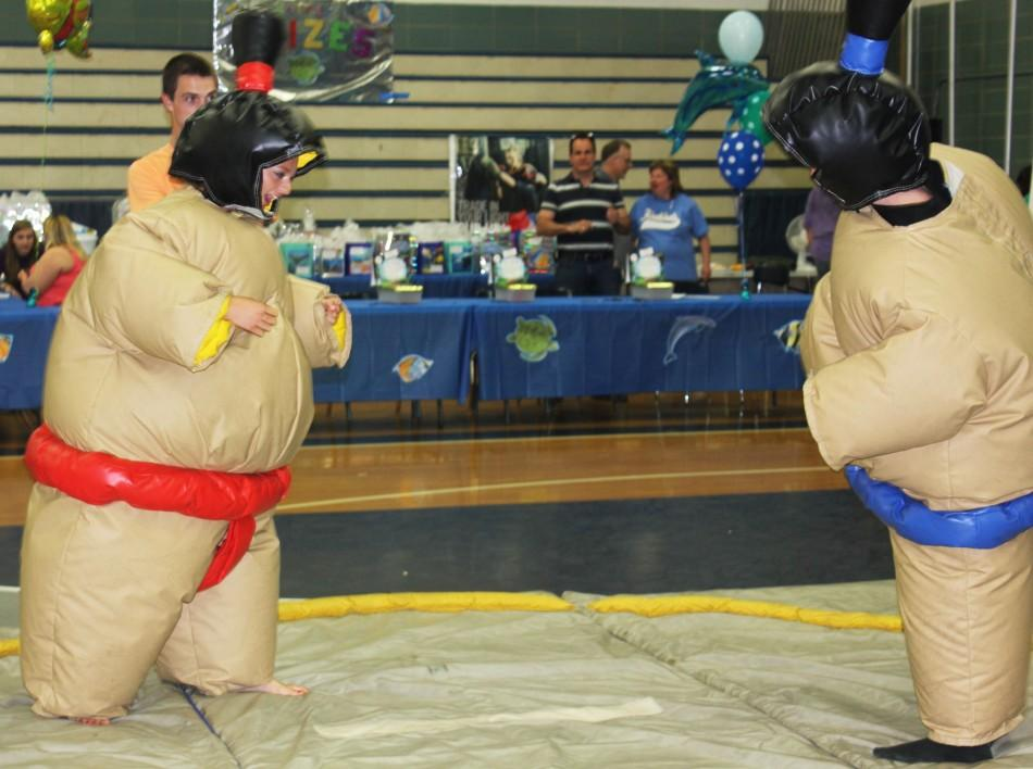 Fairmont students face each other in the art of Sumo wrestling.