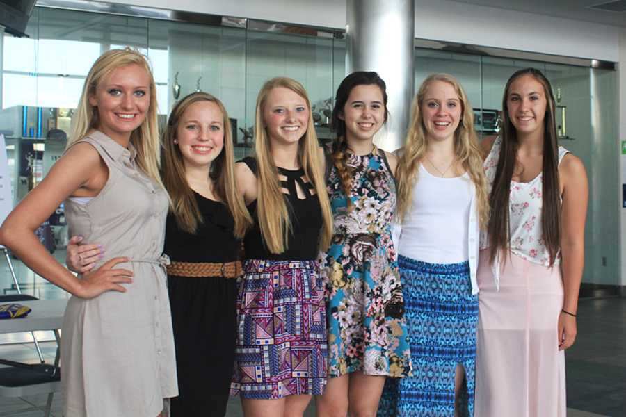 The new chief staff of the Firebird yearbook gather during the Quill & Scroll Banquet in the spring. From left, they are Maddie Renshaw, Mallory Waker, Morgan Joly, Hannah Miller, Sara Sweeterman and Morgan Emmel.