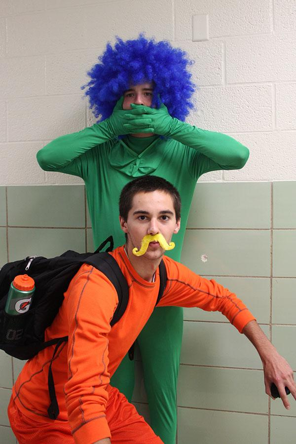 Senior Jacob Maloney dresses as the Lorax on Dr.Seuss day during spirit week. As the Lorax he serves to