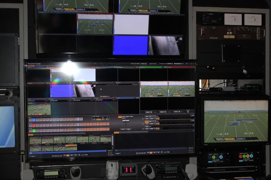 The control room in MVCC's truck is used for the video productions of Fairmont and other high school football games. The truck includes everything from computer monitors to other electronic equipment.