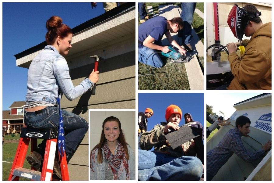 Junior Sidney Faris works on a shed at Tyler Alexander's house in Waynesville. TOP LEFT: Junior Michael Strunk  saws some wood. TOP RIGHT: Junior Josh Mullins uses a practice welding machine at the Miamisburg Construction Trades field trip. BOTTOM LEFT: Junior Brett Wheeler and others work on a roof. BOTTOM RIGHT: Juniors Damien Foster (front) and Evan Rhule working on a shed.