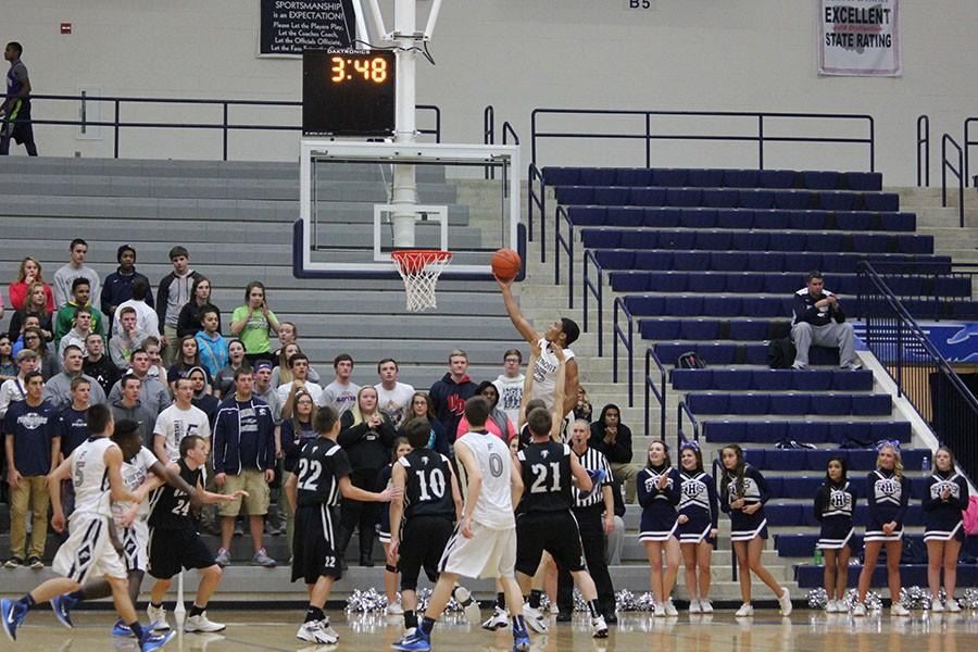 Senior Emanuel Gibson makes an attempt for a layup.