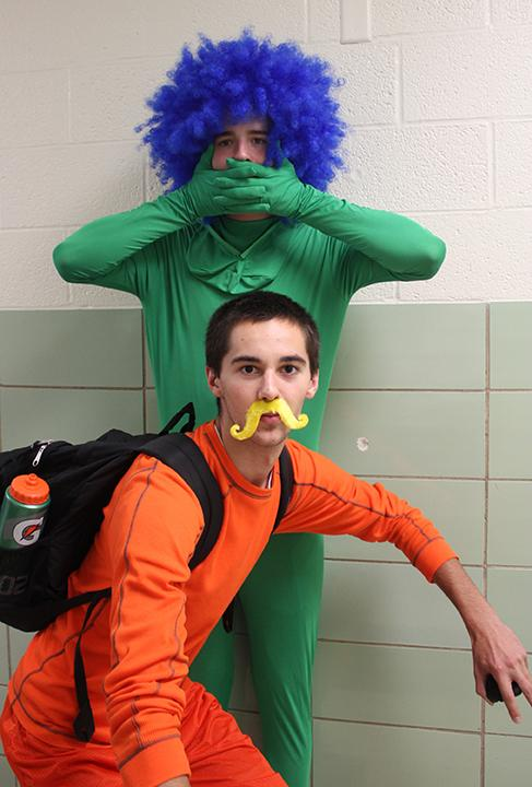 On Dr. Suess Day, student Jacob Maloney (front) dresses as the Lorax and Ethan Hosford portrays the tree from Dr. Suess'