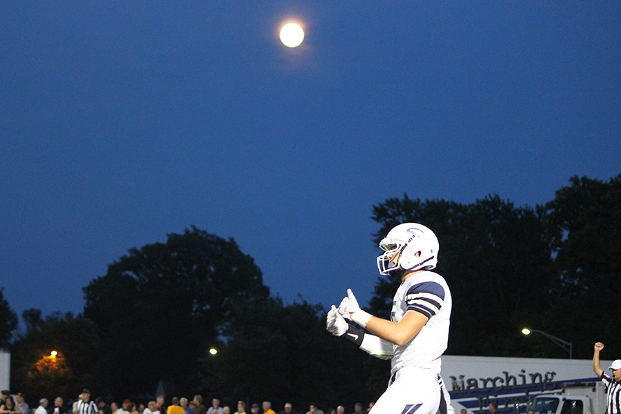 Senior Billy Martin anxious to receive the ball after halftime.