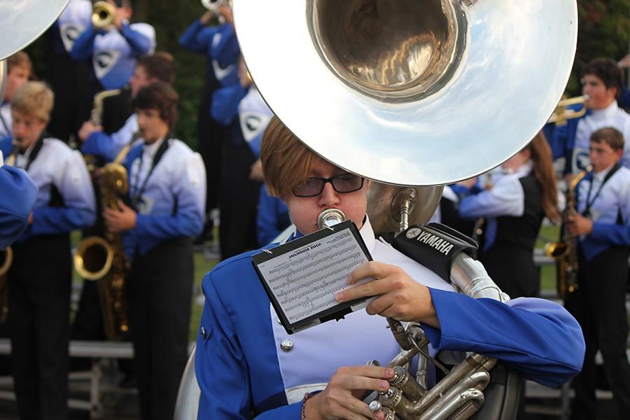 Junior Gabe Mclaughlin plays as part of the Fairmont marching band.