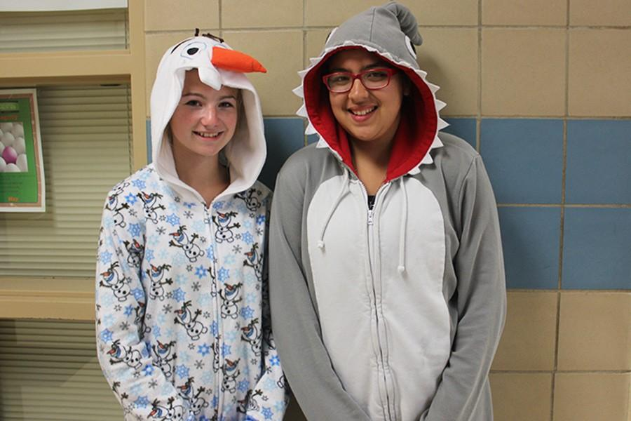 Katie Elam and Tiffany Perez dressed up for PJ Day.