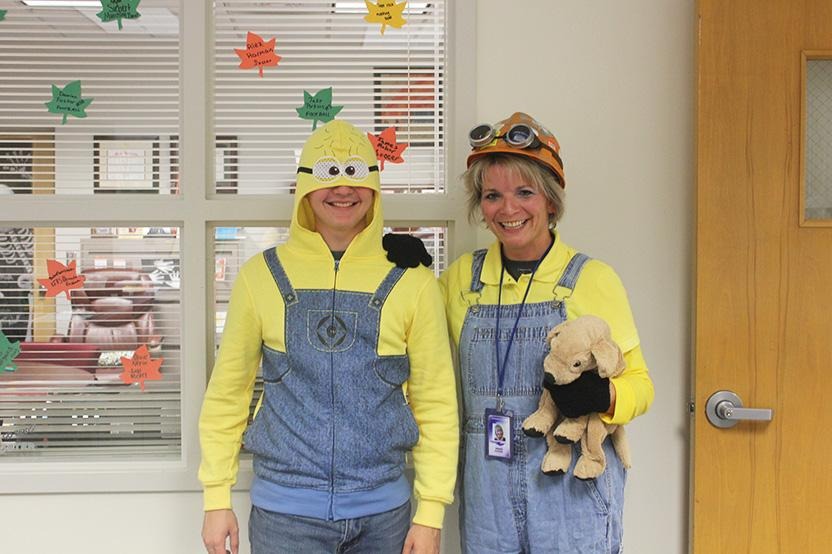 Junior Cooper Moyer and Ms. Fletcher dressed up for Minion Day.