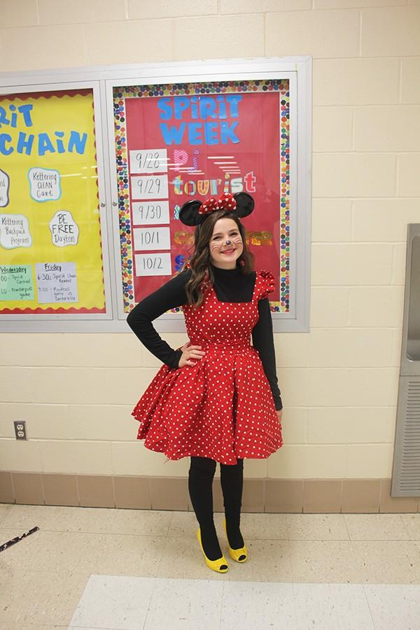 (name) poses as Minnie Mouse for Character Day.