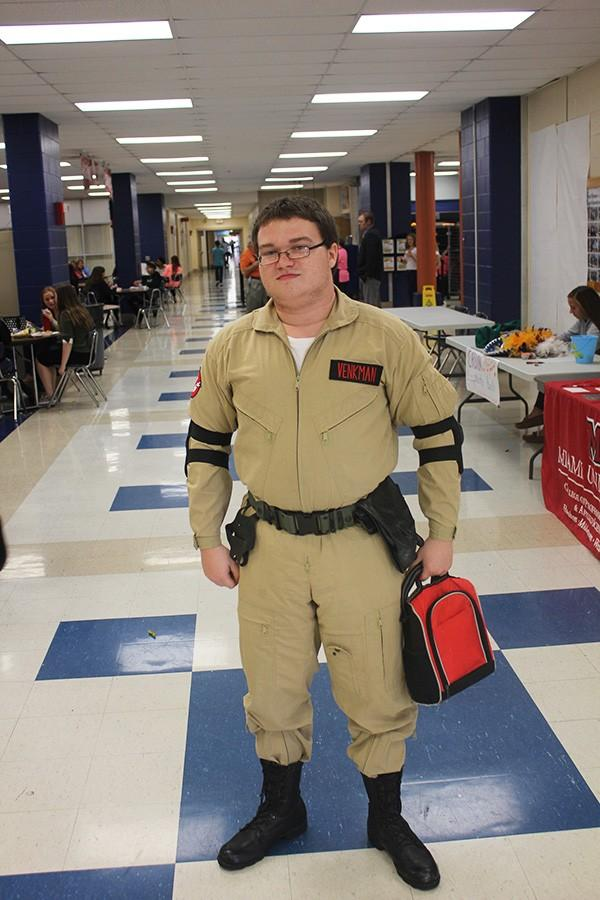 (name) dressed as a Ghostbuster for Character Day.