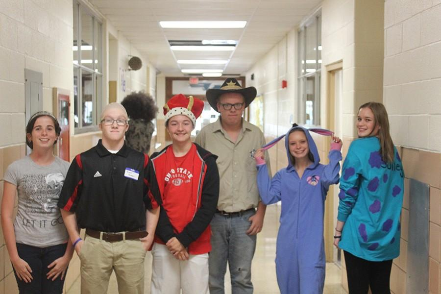 Students dressed up as various characters for Character Day.
