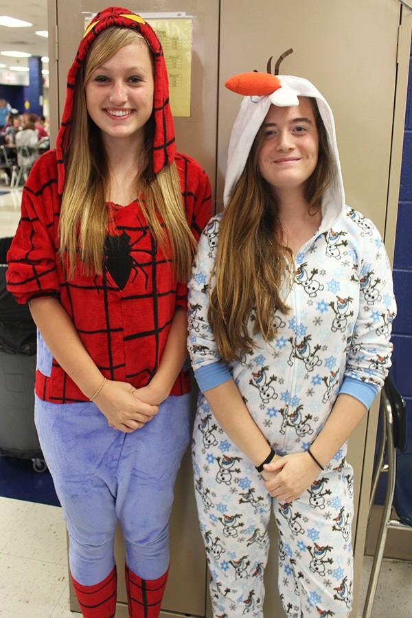 Christina Goerz (left) and Alexis Laake (right) in pajamas for PJ Day.