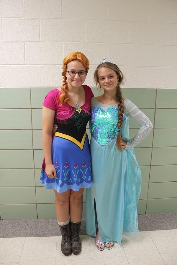 Flyer Chief Photographer Emily Latham (left) and staffer Ann Levett (right) dressed up as Anna and Elsa from Disney's Frozen.