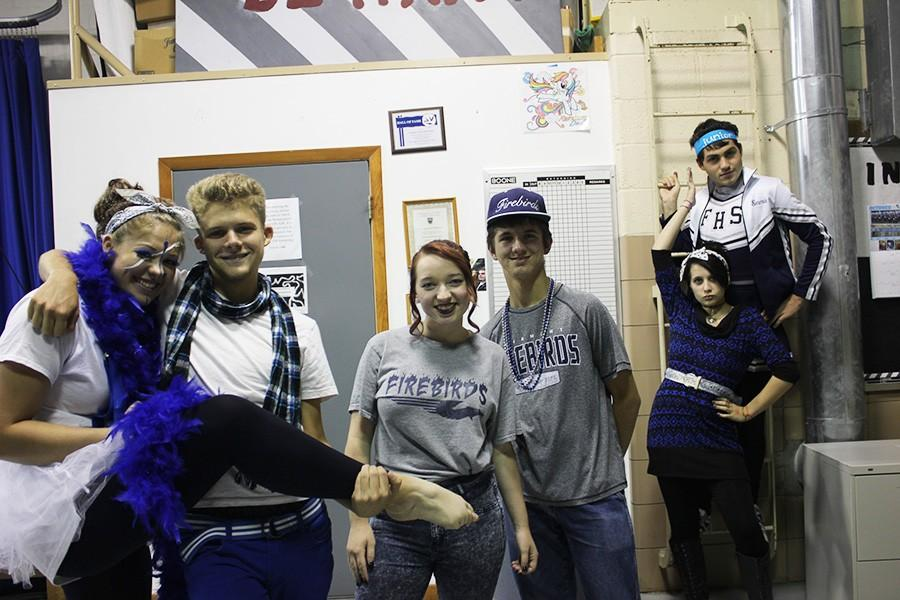 Interactive Media students posing for a photo on Spirit Day.