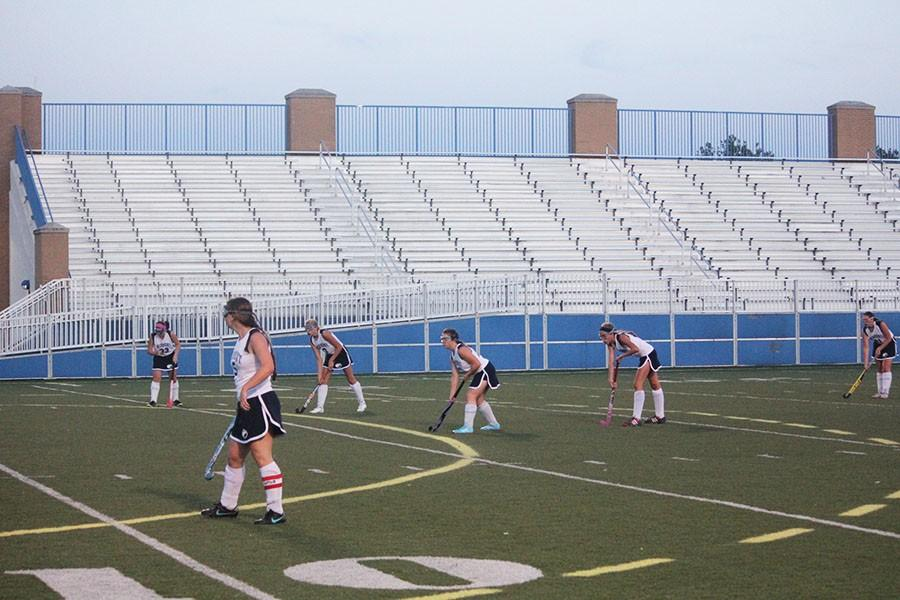 Fairmont's front-line sets up for a corner for a shot to tie the game.