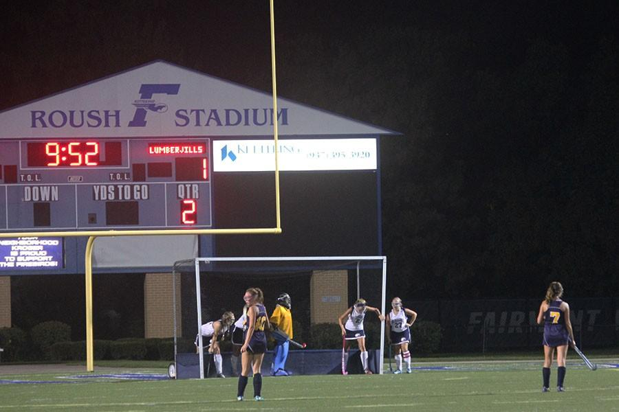 As the time runs down, Fairmont tries to defend their goal against the offending corner.