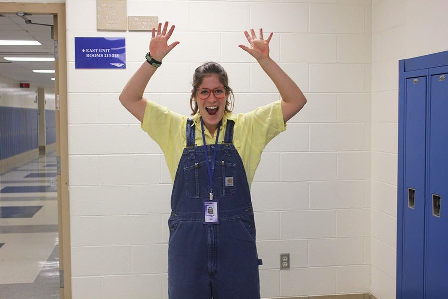 Biology and Environmental Science teacher Mrs. Ryberg poses for Minion Day.