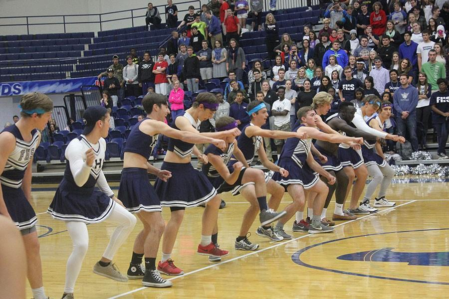 Fairmont's Powderpuff cheerleaders bust out the whip in the dance off.
