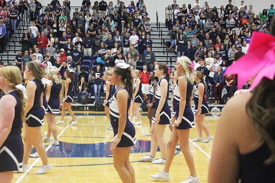 Fairmont's cheerleaders line up for their dance off against the Powderpuff cheerleaders.