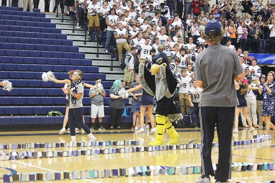 Fairmont's mascot, Sparky and some members of the student council celebrate the juniors' victory of raising the most money for Spirit Chain.