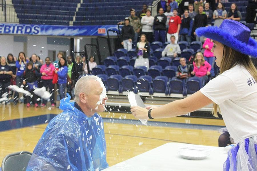 Fairmont's south unit principal, Jeff Renshaw gets pied.