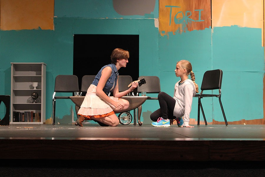 Senior+Maddie+Schroll+and+10-year-old+lead+Lucy+Bruzzese+rehearse+part+of+the+play%2C+The+Bad+Seed.+