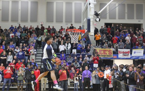 Five star prospect, Miles Bridges, throwing down a windmill dunk in the warm-ups.