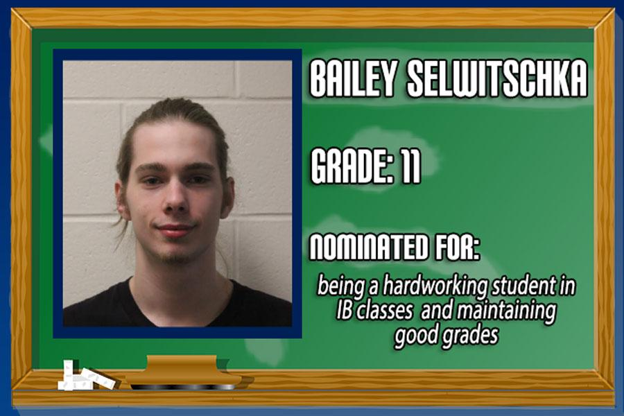 Junior Bailey Selwitschka has been chosen as Student of the Month for his hard work and excelling in IB courses.   (Graphic by Brittany Peckham)