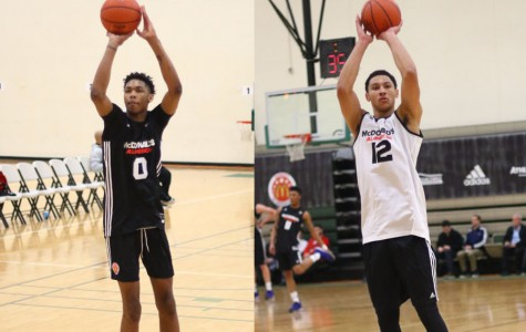 The two top prospects for this year's NBA draft, back in 2015 warming up for the McDonald's All American high school all-star game. Left: Brandon Ingram, Right: Ben Simmons