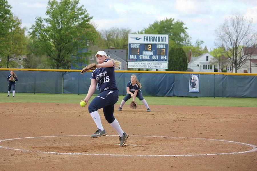 Senior Danielle Wilhelm strikes out the batter.