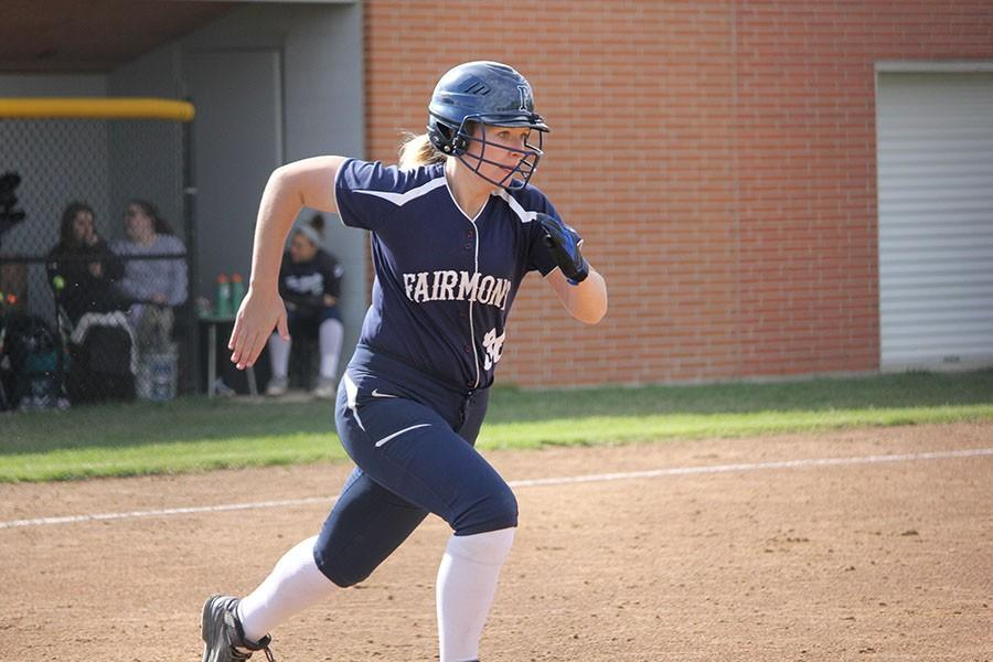 Senior Mady Baker runs to first after making solid contact with the ball.