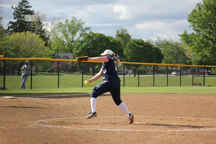 Senior Danielle Wilhelm winds up her pitch.