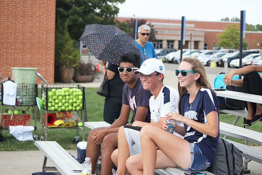 Fairmont students support the girls' tennis team at their match v. the Centerville Elks.