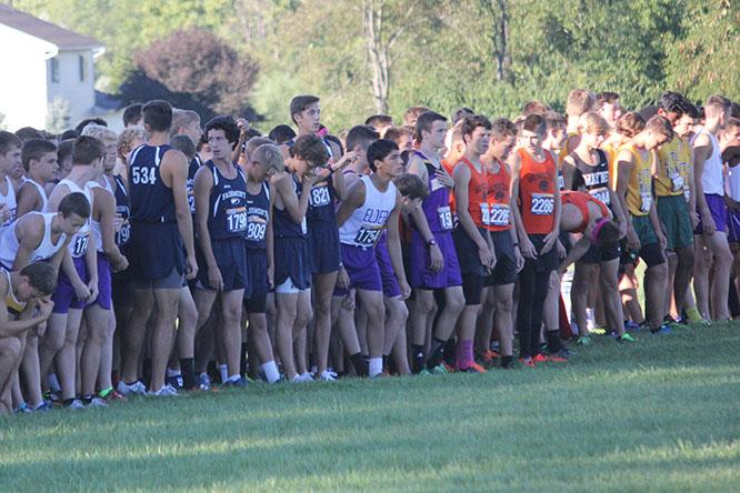 The boys' cross country team lined up at the starting line.