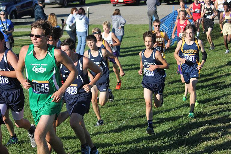 Junior, Aidan Robillard, finishing off the first mile with a strong start.