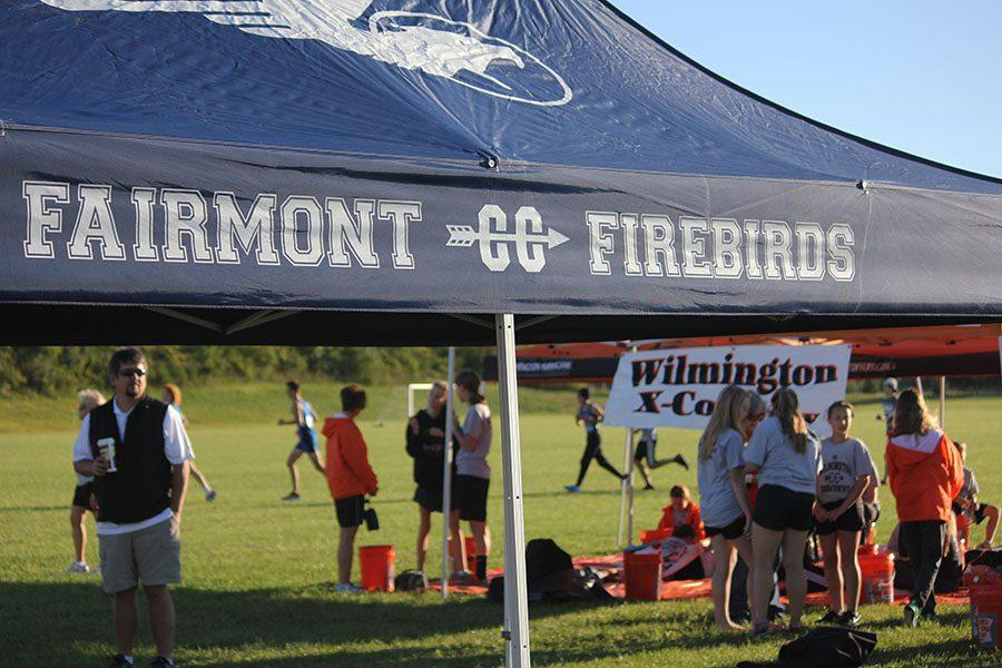 The cross country tent for the boys' team during the event.